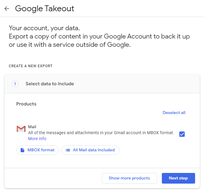 google takeout interface