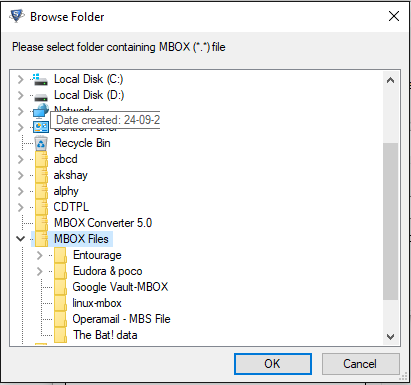 select mbox file and click ok