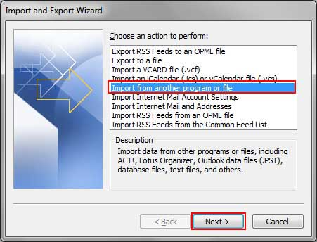select import from another program option