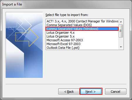 choose CSV format option