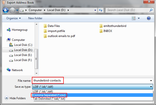 save contacts to csv