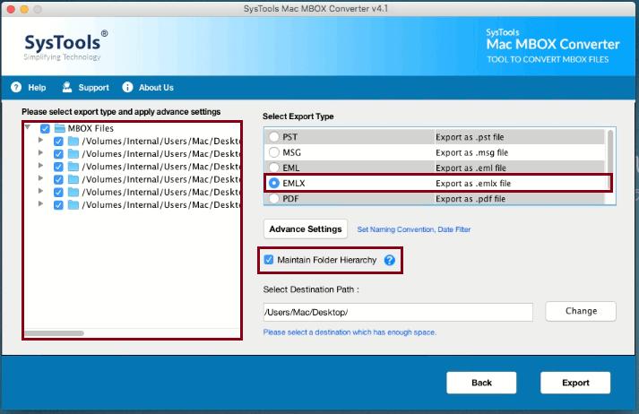 select emlx format