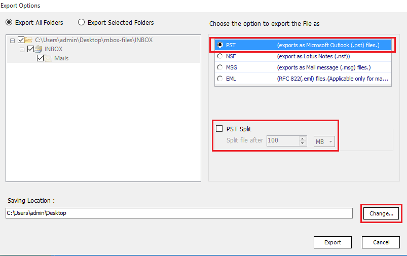 different export options